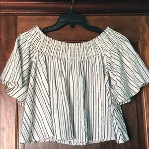 Off the shoulder striped top